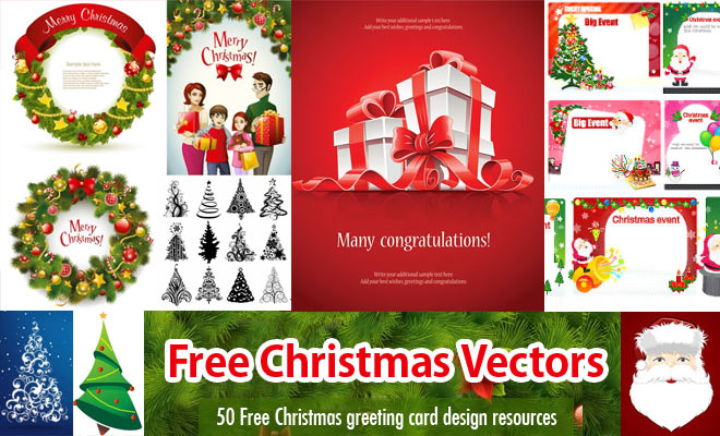50 Christmas themed Free Vector Resources for your Greeting Cards and Web Design - EPS AI SVG